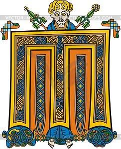 Keltischer Buchstabe M mit Mann - Vektorgrafik