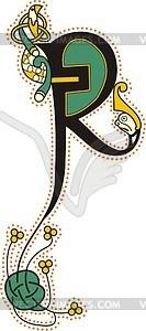 Keltischer Buchstabe R - Vector-Clipart / Vektorgrafik