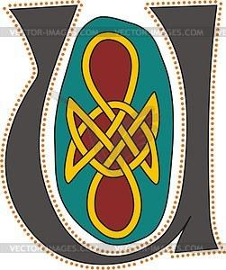 Keltischer Buchstabe U - Vektor Clip Art