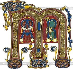 Keltischer Buchstabe M und geringe Initialen AR - Vektorgrafik