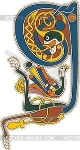 Keltischer Buchstabe Q - Vektor-Illustration
