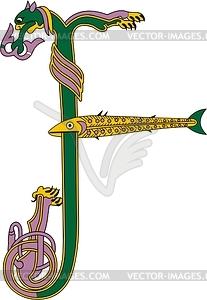 Keltischer Buchstabe I und Fisch - Vektorgrafik