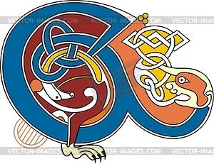 Keltischer Bchstabe E - Vektor Clip Art