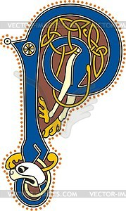 Keltischer Buchstabe P - Vektor Clip Art