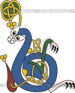 Keltischer Buchstabe B - Stock Vektorgrafik