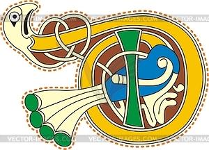 Keltischer Buchstabe D mit Vogel - Vektorgrafik