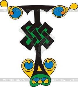 Keltischer Buchstabe T - Vektor-Klipart