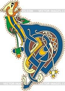 Keltischer Buchstabe mit Löwe - Vektorgrafik