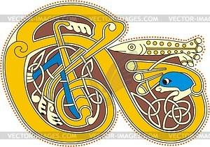 Keltischer Buchstabe E mit Fisch - Vektorgrafik