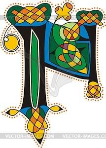 Keltischer Buchstabe N - Vektor-Clipart