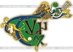Keltische Buchstaben TVN mit Vogel - Vektorgrafik