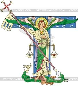 Ornamentaler Buchstabe T mit Erzengel Michael - Vektorgrafik