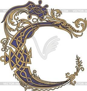 Gotischer Buchstabe C mit Drache - Vektorgrafik