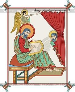 Hl. Matthäus Evangelist (Ev. von Lindisfarne) - Vektorgrafik