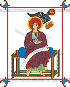 Evangelist Johannes (Lindisfarne E.) mit Adler - Vektorgrafik