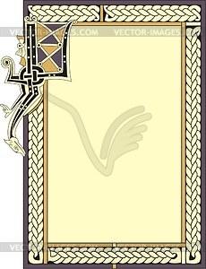 Rahmen und dekorierter Buchstabe I - Vektorgrafik