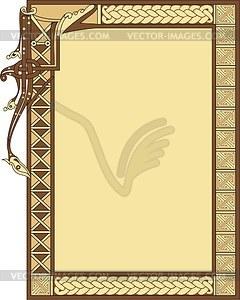 Keltischer dekorierte Rahmen und Buchstabe I - Vektorgrafik