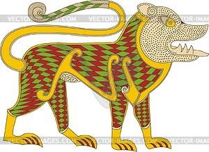 Löwe - Symbol von Markus Evangelist (B. von Durrow) - Vektorgrafik