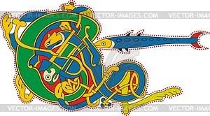 Keltischer Buchstabe E und Fisch - Vektorgrafik
