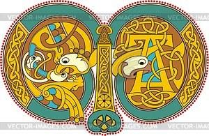 Keltischer Buchstabe M - Vektorgrafik