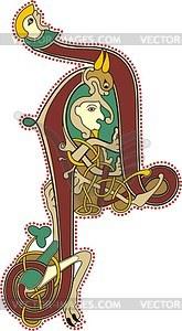 Keltischer Buchstabe A mit Menschen - Vektorgrafik