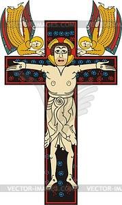 Kreuzigung begleitet mit zwei Engeln - Vektorgrafik