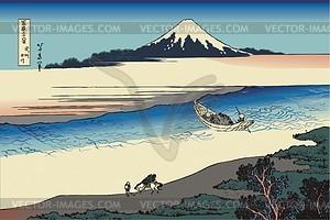 Hokusai. Der Fluss Tama in der Provinz Musashi - Vektorgrafik