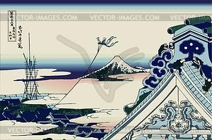 Hokusai. Der Hongan-ji-Tempel bei Asakusa in Edo - Vektorgrafik
