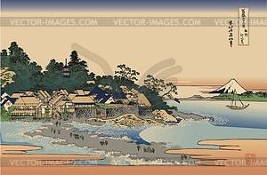 Hokusai. Enoshima in der Provinz Sagami - Vektorgrafik