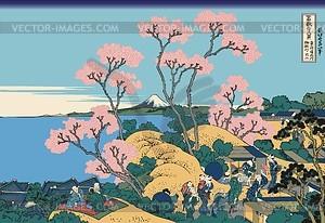 Hokusai. Fuji gesehen aus Gotenyama bei Shinagawa an der Tokaido-Straße - Vektorgrafik