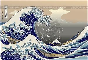 Hokusai. Die große Welle vor Kanagawa - Vektorgrafik