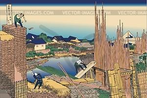 Hokusai. Tatekawa in Honjo - Vektorgrafik