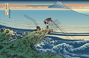 Hokusai. Kajikazawa in der Provinz Kai - Vektorgrafik