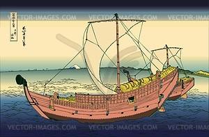Hokusai. Auf See vor Kazusa - Vektorgrafik