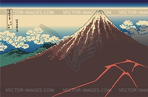 Hokusai. Gewitter unterhalb des Gipfels - Vektorgrafik