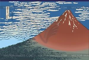 Hokusai. Klare Morgendämmerung bei Südwind (oder Roter Fuji) - Vektorgrafik