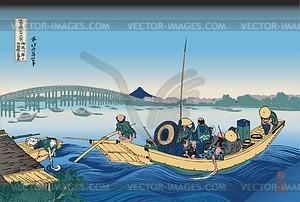 Hokusai. Blick auf den Sonnenuntergang über der Ryogoku-Brücke von der Ufermauer in Onmaya - Vektorgrafik