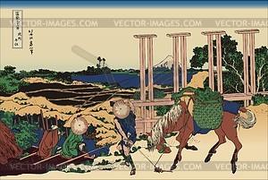 Hokusai. Senju in der Provinz Musashi - Vektorgrafik