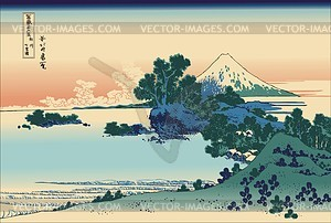 Hokusai. Shichirigahama-Strand in der Provinz Sagami - Vektorgrafik