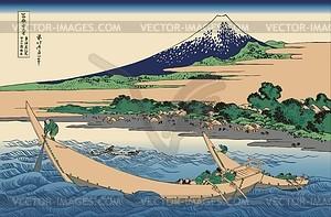 Hokusai. Skizze von der Tago-Bucht bei Ejiri an der Tokaido-Straße - Vektorgrafik