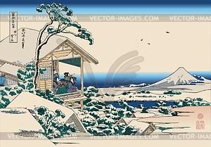 Hokusai. Verschneiter Morgen bei Koishikawa - Vektorgrafik