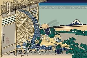 Hokusai. Das Wasserrad bei Onden - Vektorgrafik