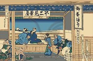 Hokusai. Yoshida an der Tokaido-Straße - Vektorgrafik
