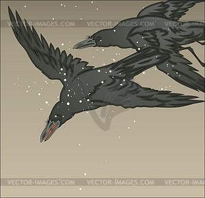 Krähen im Schnee (von Biho) - Vektorgrafik