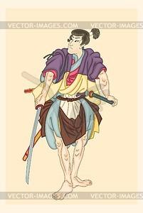 Japanischer Krieger (von Kuniyoshi) - Vektorgrafik