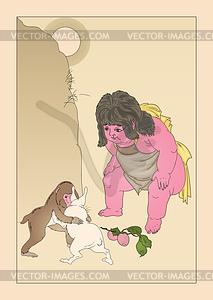Kintoki sieht einen Kampf von Hasen und Affen (von Yoshitoshi) - Vektorgrafik