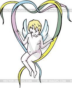 Engelchen mit Herz von Bändern gebildet - Vektorgrafik