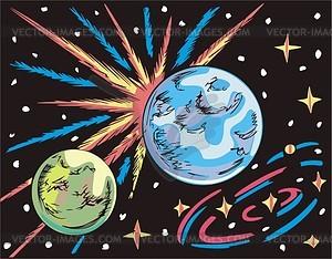 Weltraum Landschaft mit zwei Planeten - Vektorgrafik
