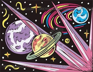 Weltraum Landschaft mit drei Planeten - Vektorgrafik