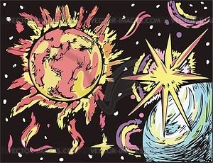 Weltraum-Landschaft mit Stern - Vektorgrafik